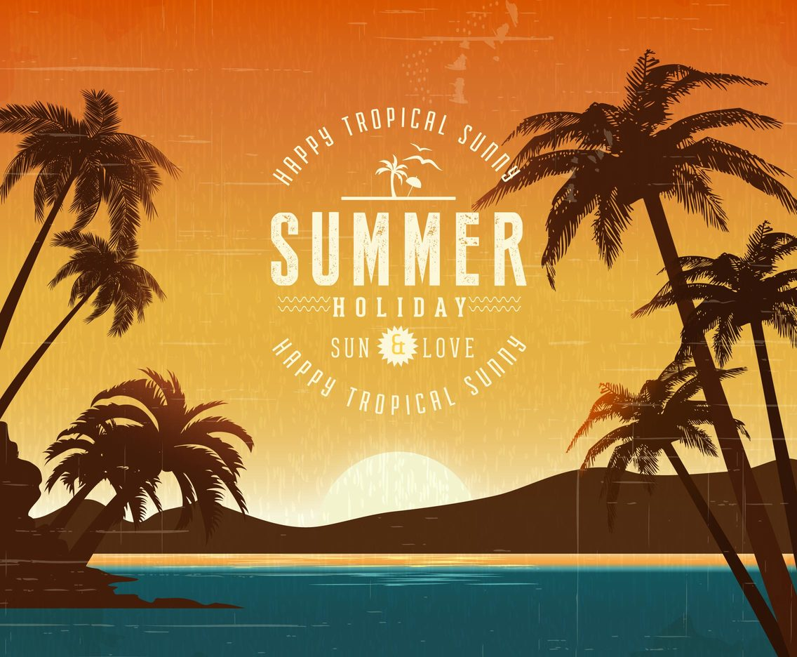 Retro Tropical Summer Vector Poster