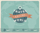 Retro Around The World Map Vector