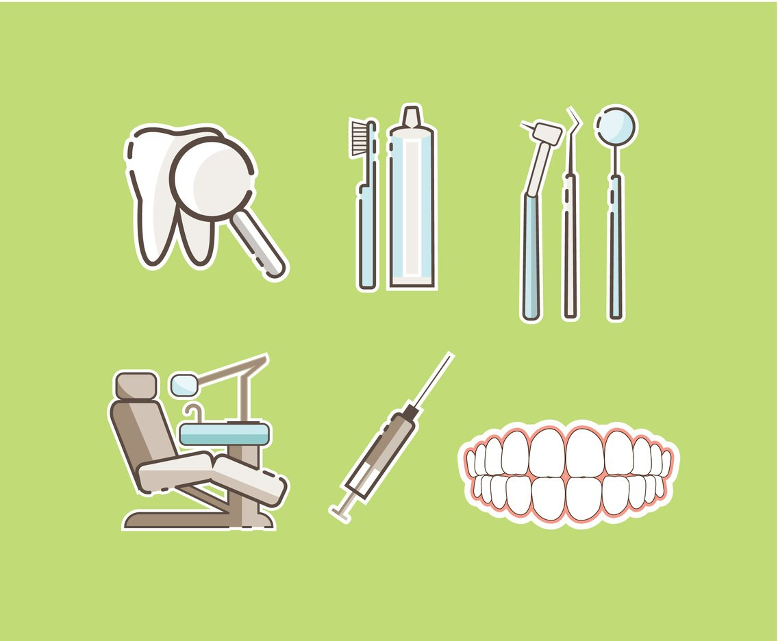 Dental Sticker Icons Vector