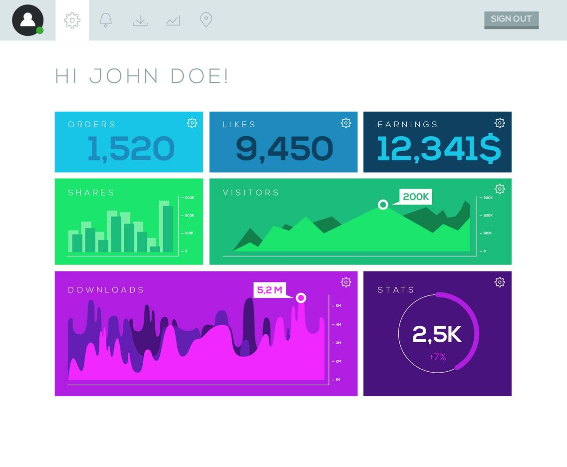 Dashboard Page Menu Stats Vector Template