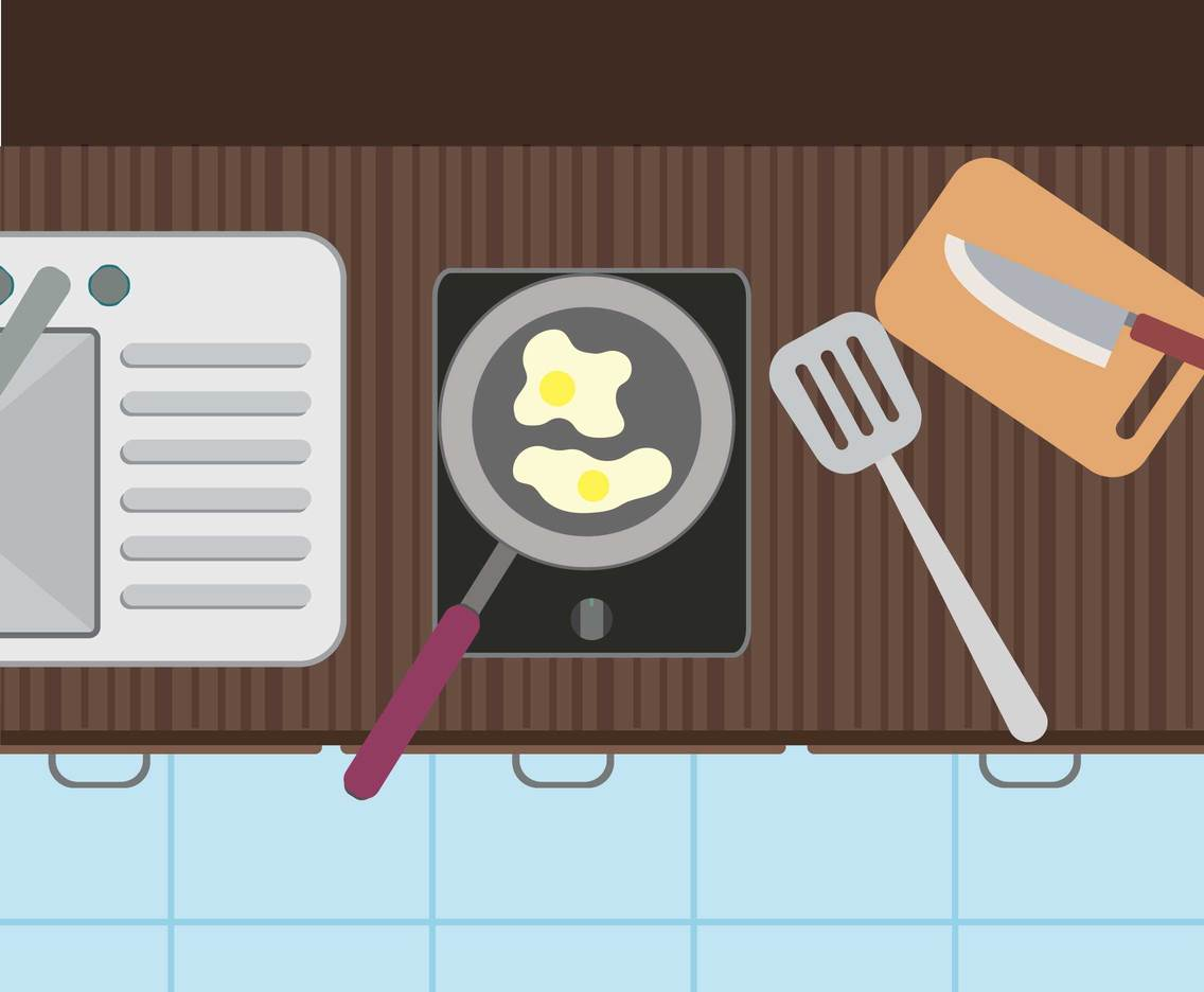 Free Kitchen Utensils. Sink, Pans, Knife, Top View Illustration
