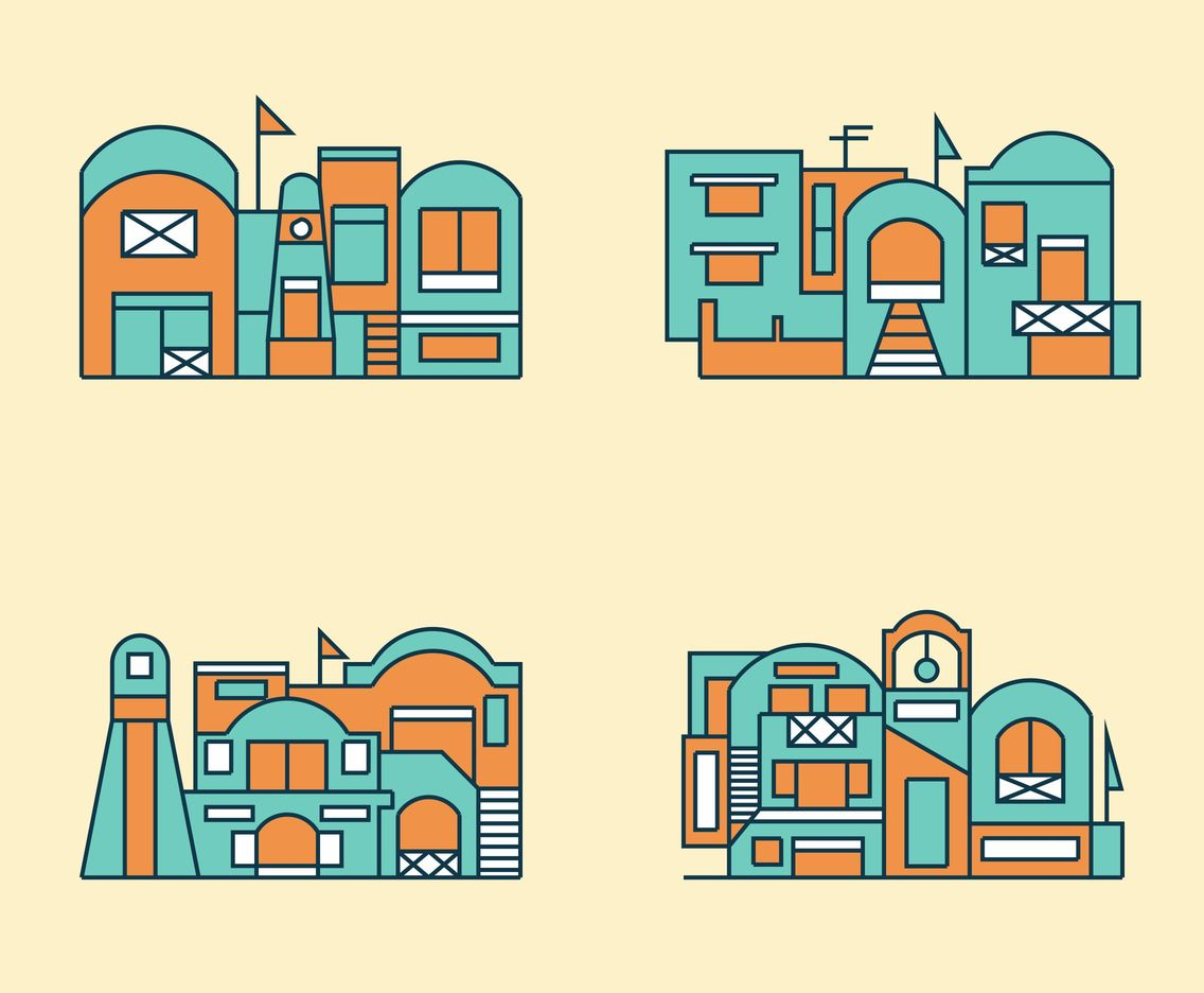 Flat Santorini Buildings Vector