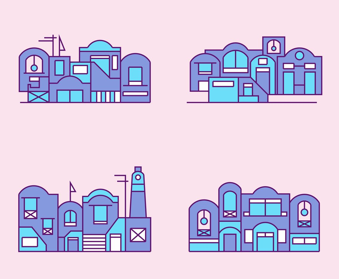 Flat Purple Santorini Vector Set