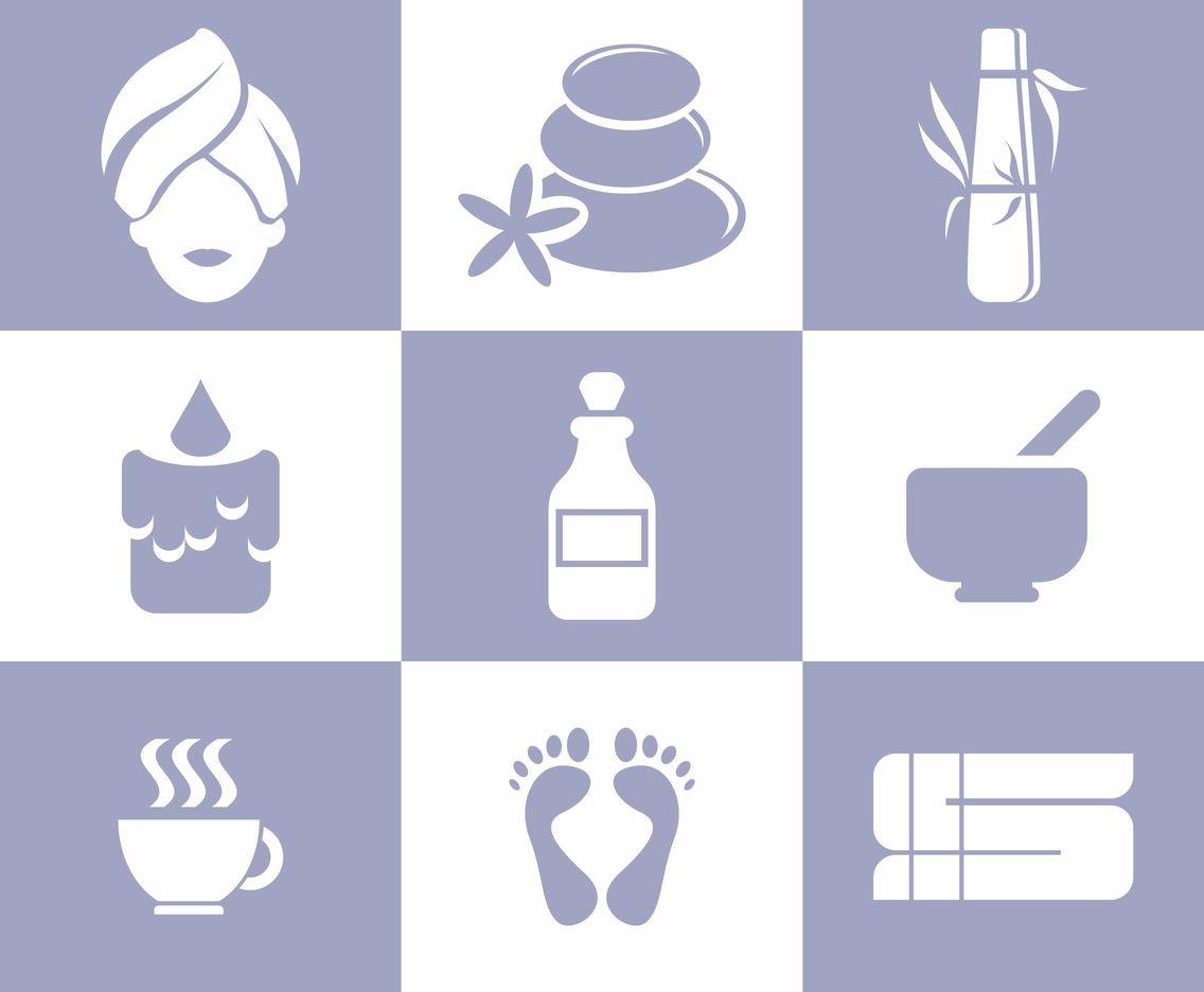 Vector Illustration of Various Spa Silhouette Icons