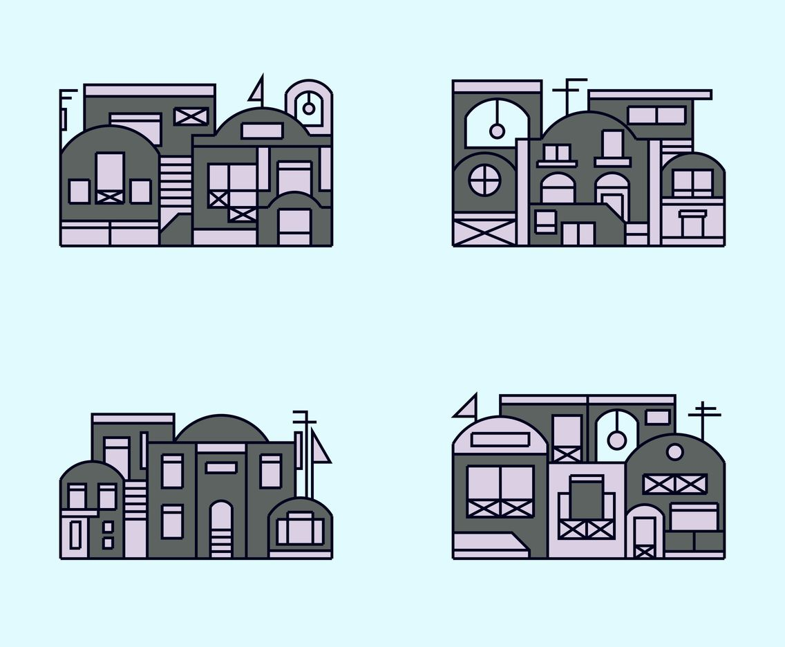 Grey Santorini Building Vector