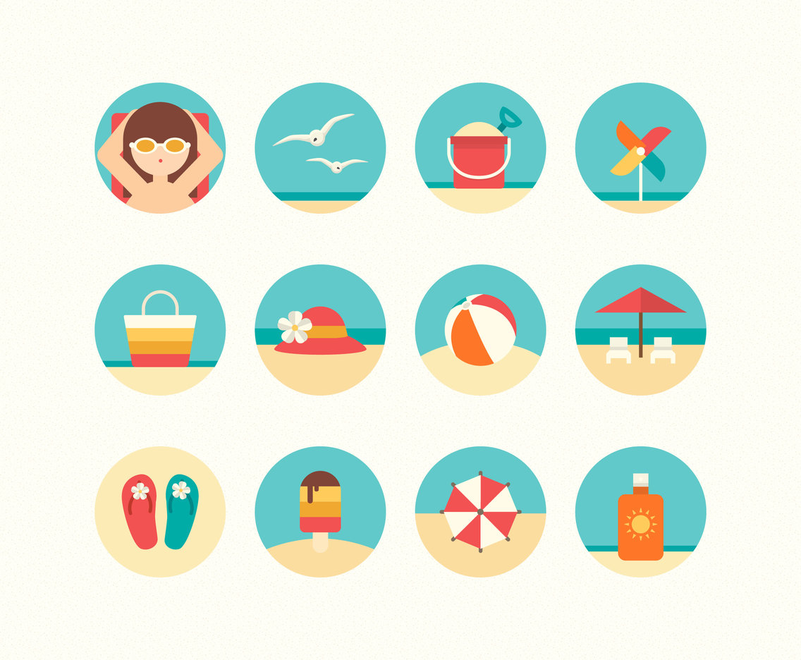 Flat Summer Beach Icon Set