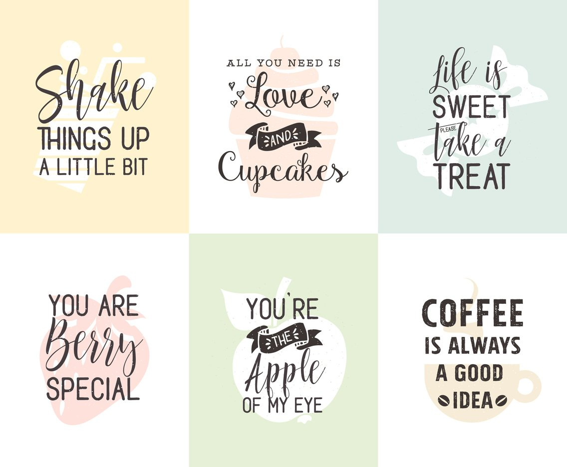 Food And Drinks Related Typography Quotes Posters