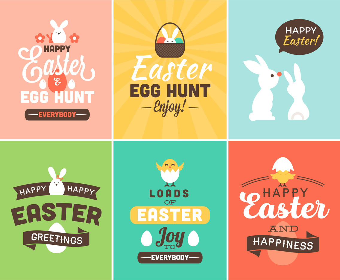 Happy Easter Vector Cards