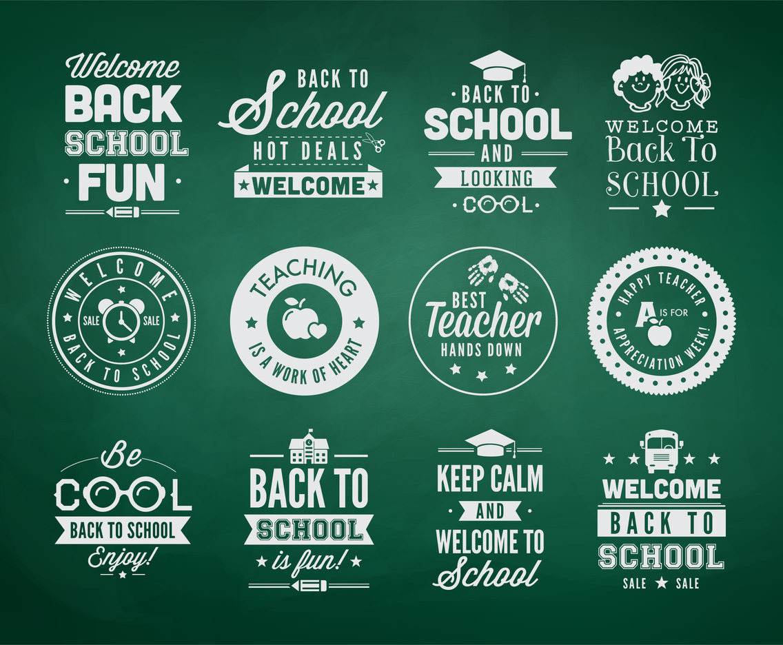 Back To School Typography Vector Labels