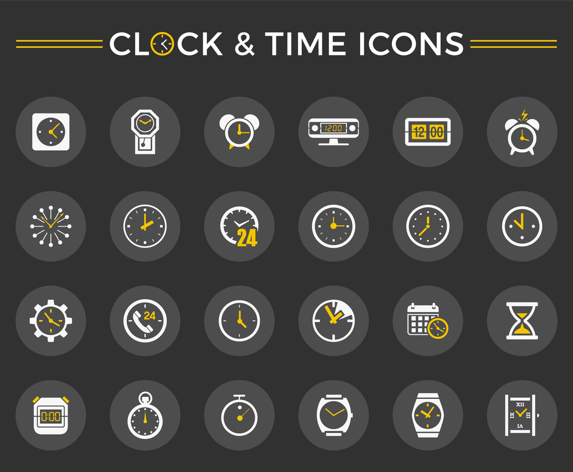 Clock And Time Vector Icon Set