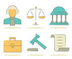 Lawyer Element Icons Vectors
