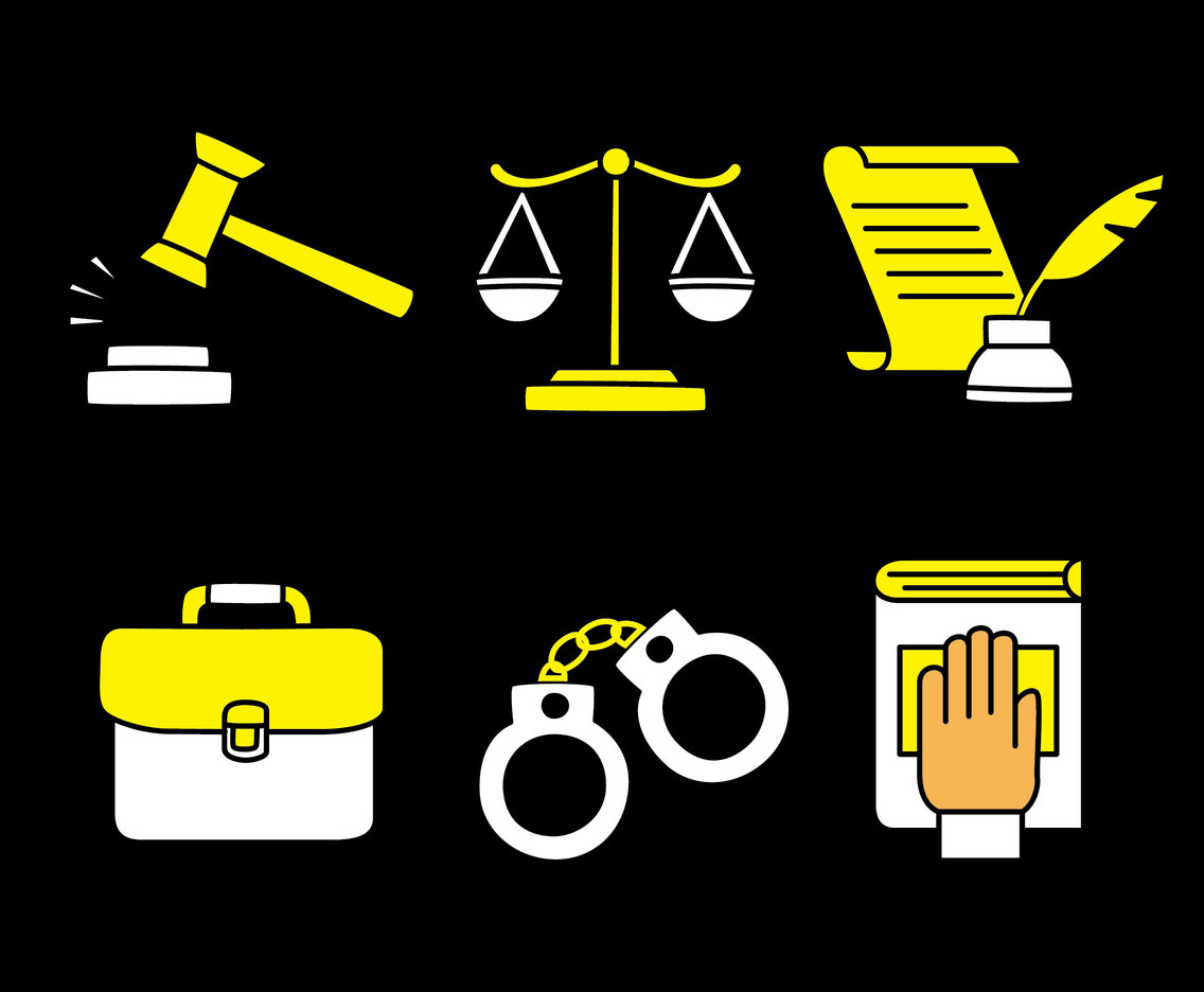 Lawyer Element White And Yellow Icons Vector