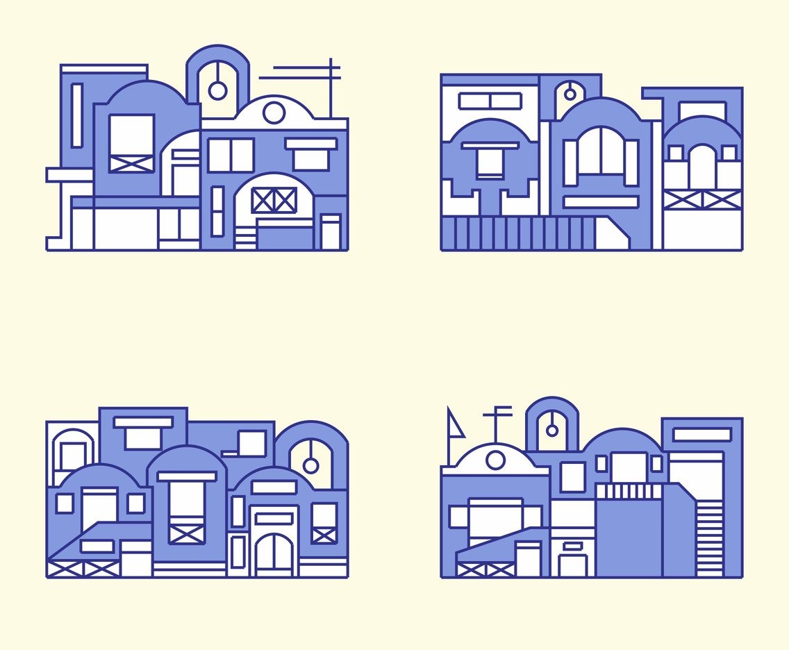 Santorini Building in Flat Design Vector