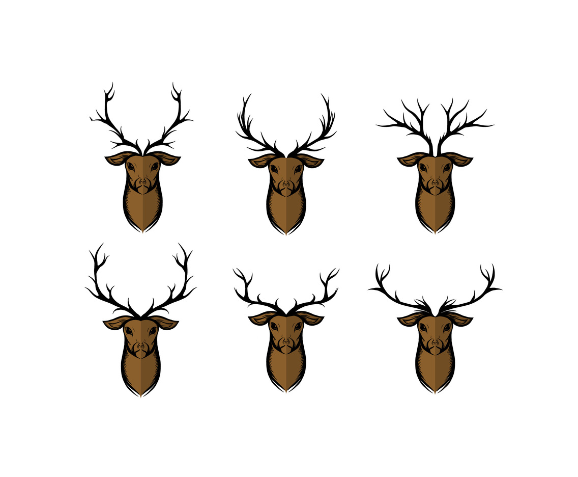 Various Oryx Heads Vector
