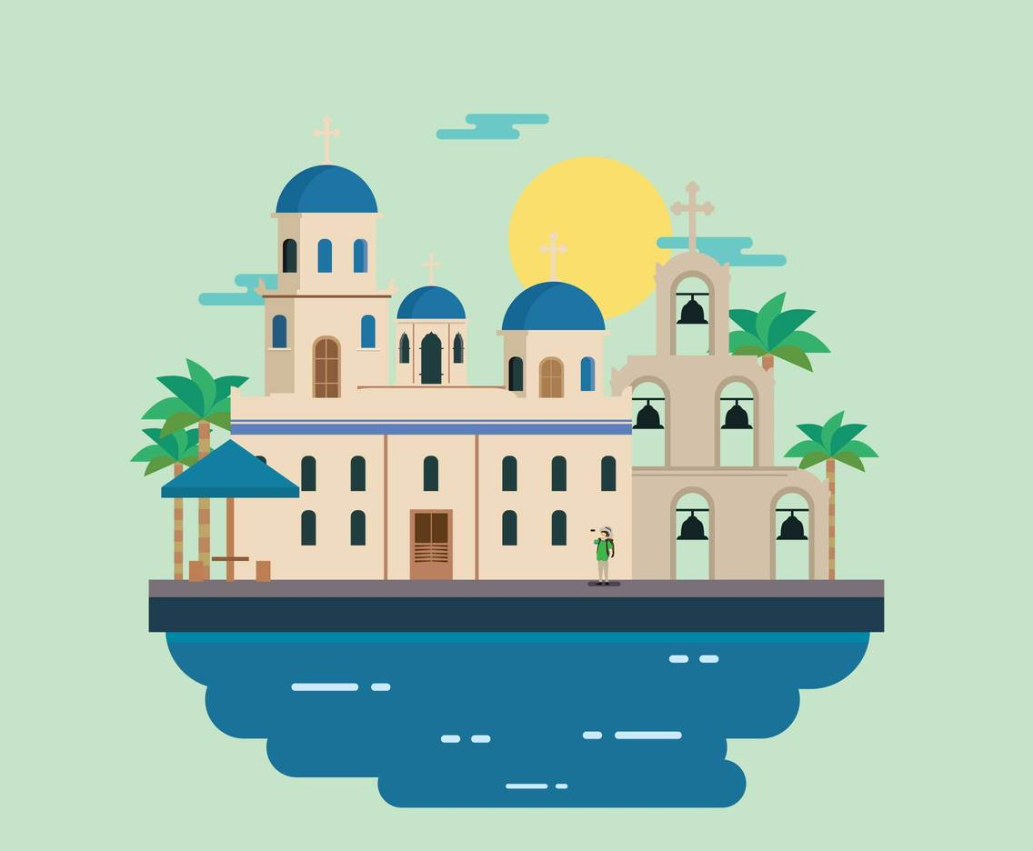 Free Travel At Santorini Illustration
