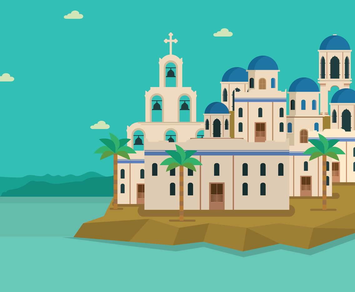 Free Santorini With White House and Blue Dome Illustration