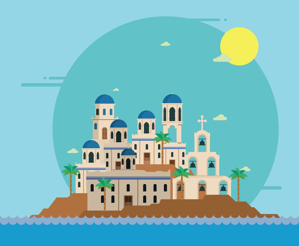 Free Santorini View From Sea Illustration