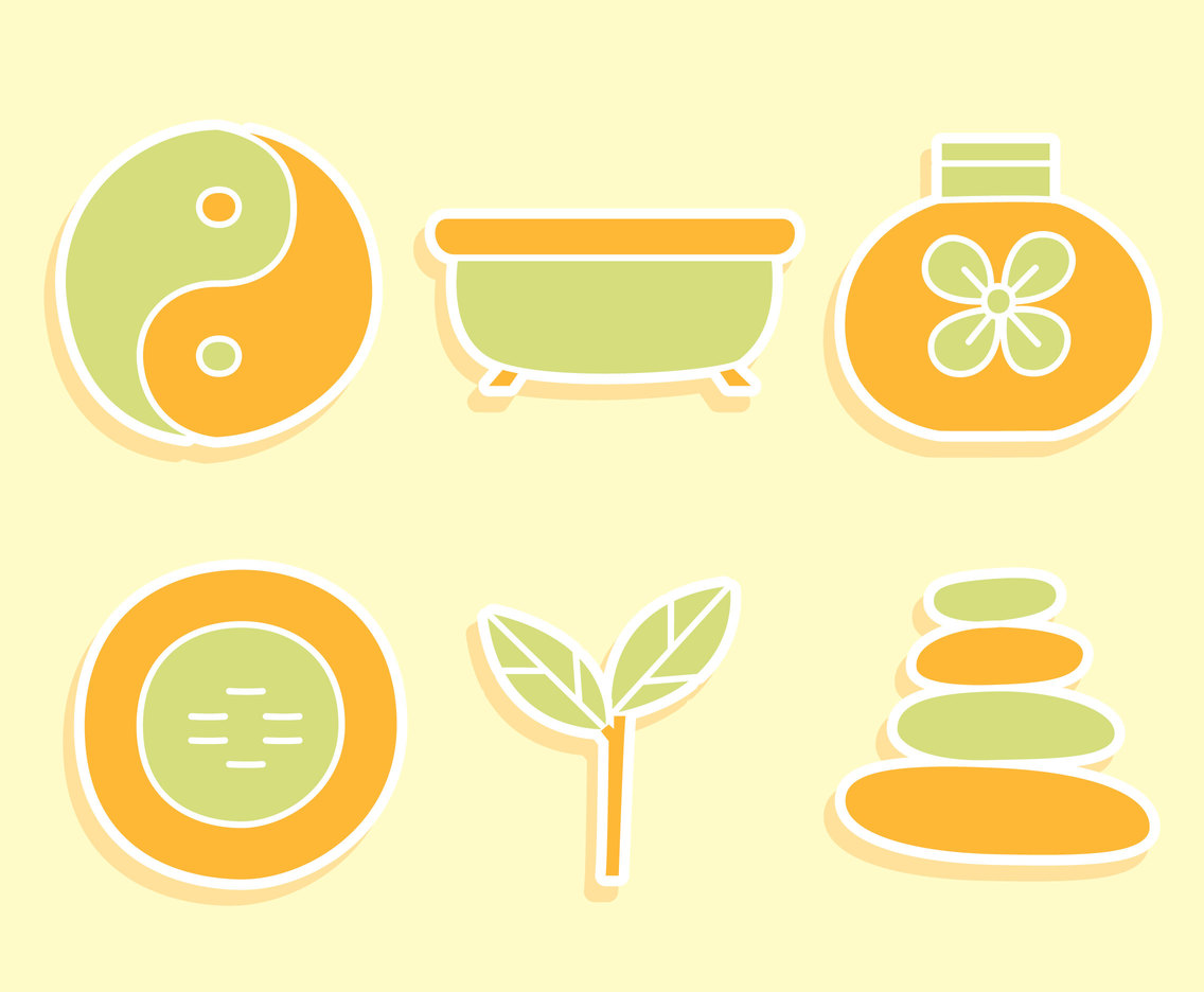 Spa Element In Green And Orange Colors Vector
