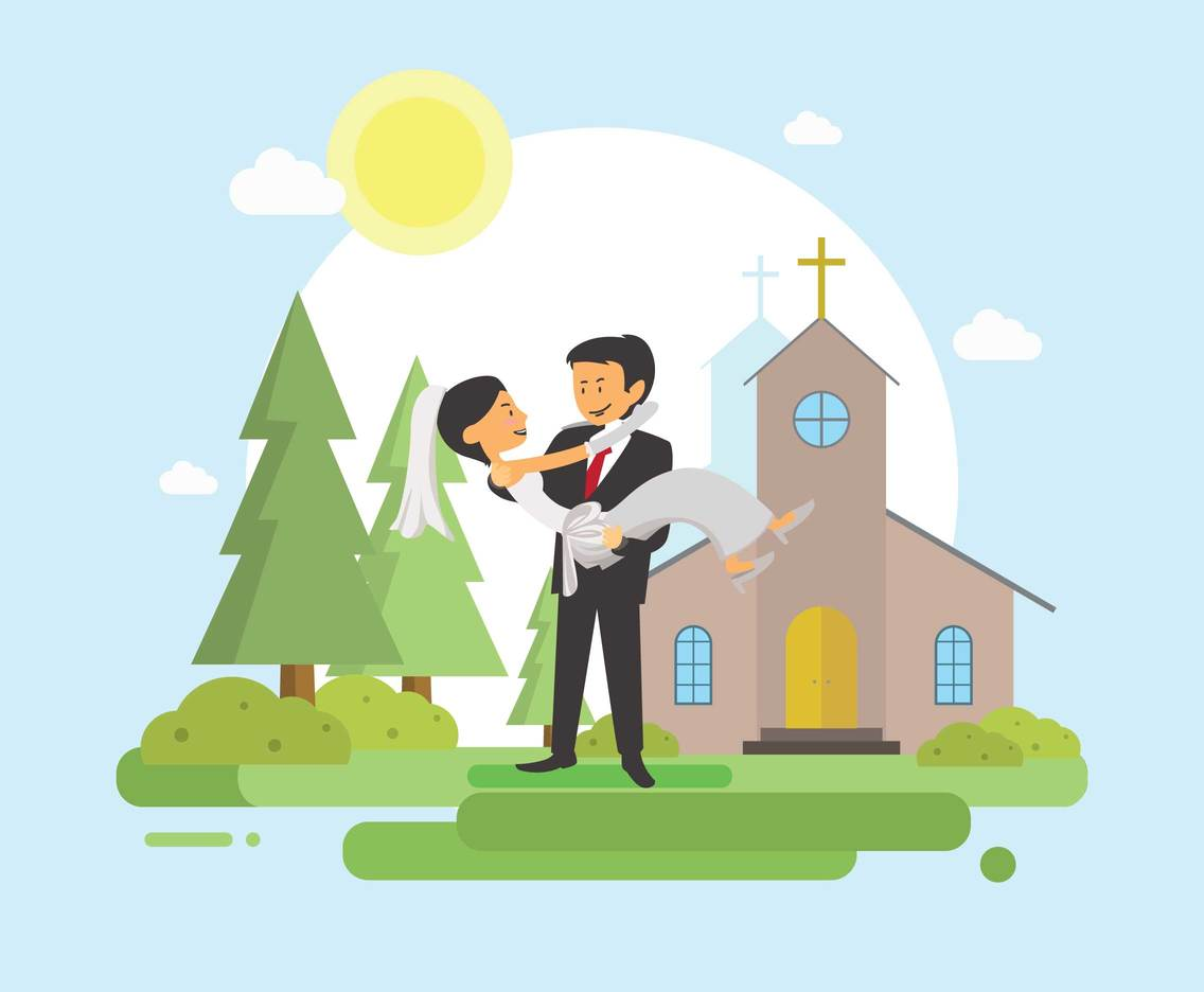 Free Groom And Bride With Church Background Illustration