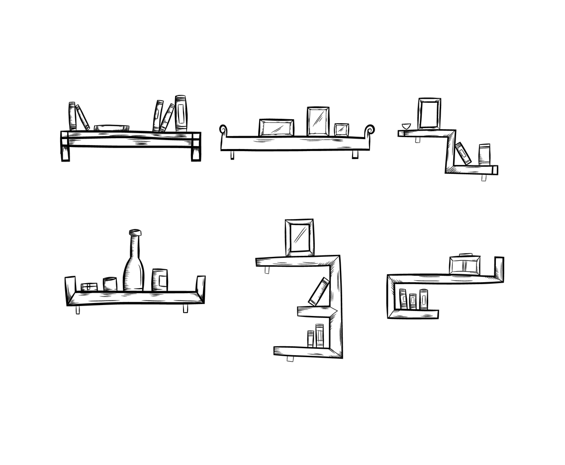Black and White Sketchy Shelf Vector