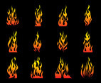Burning Fire Flames Vector Set