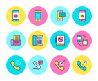 Phone Related Flat Line Vector Icons