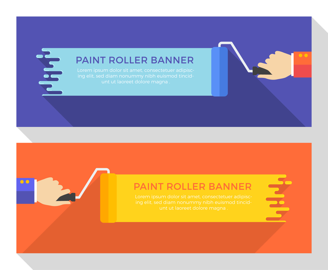 Hand Holding Paint Roller Vector Banner