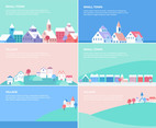 Flat Village And Small Town Landscapes Banners