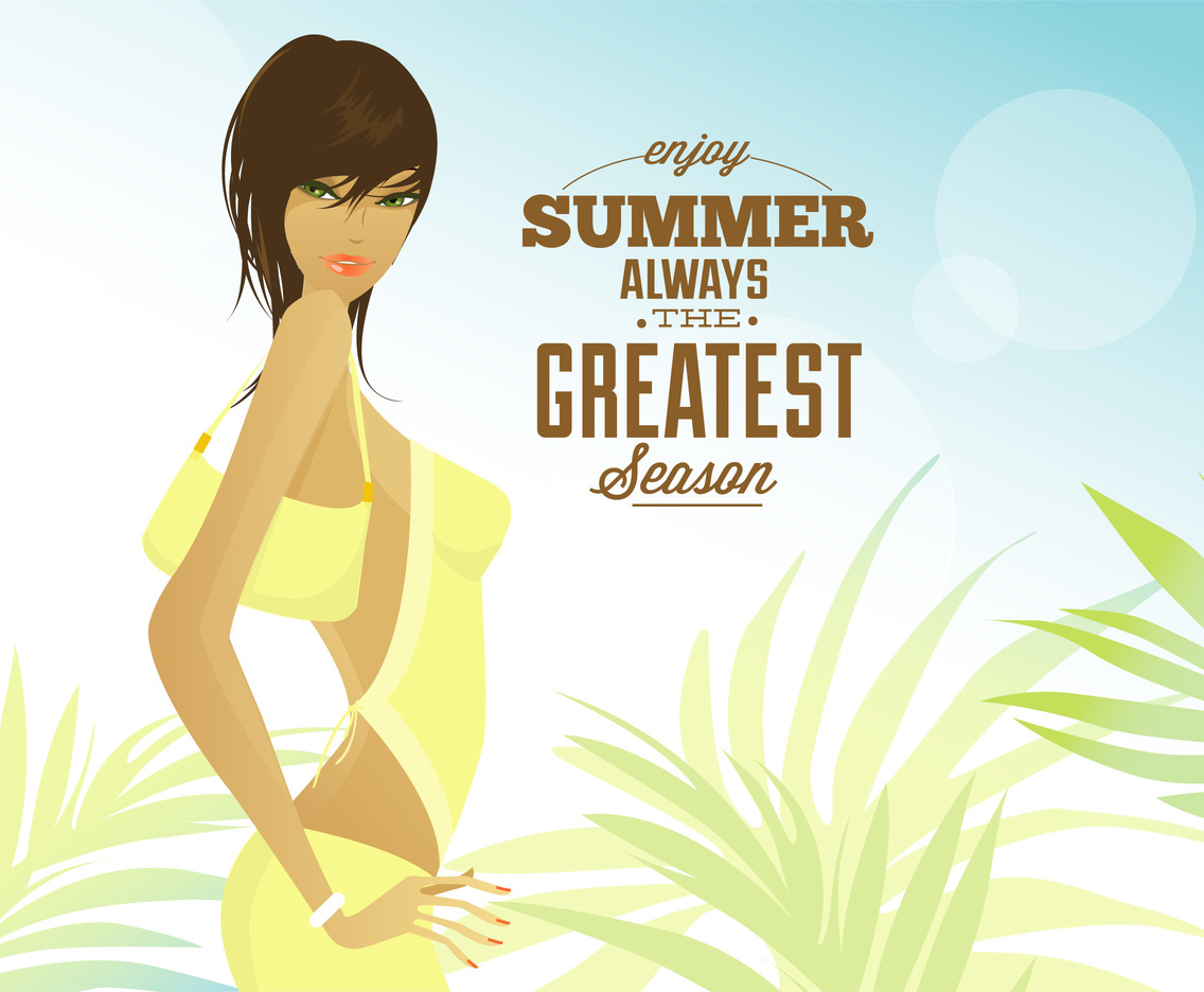 Summer Woman Vector Poster