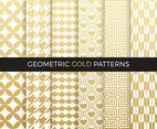 Golden Geometric Seamless Vector Patterns