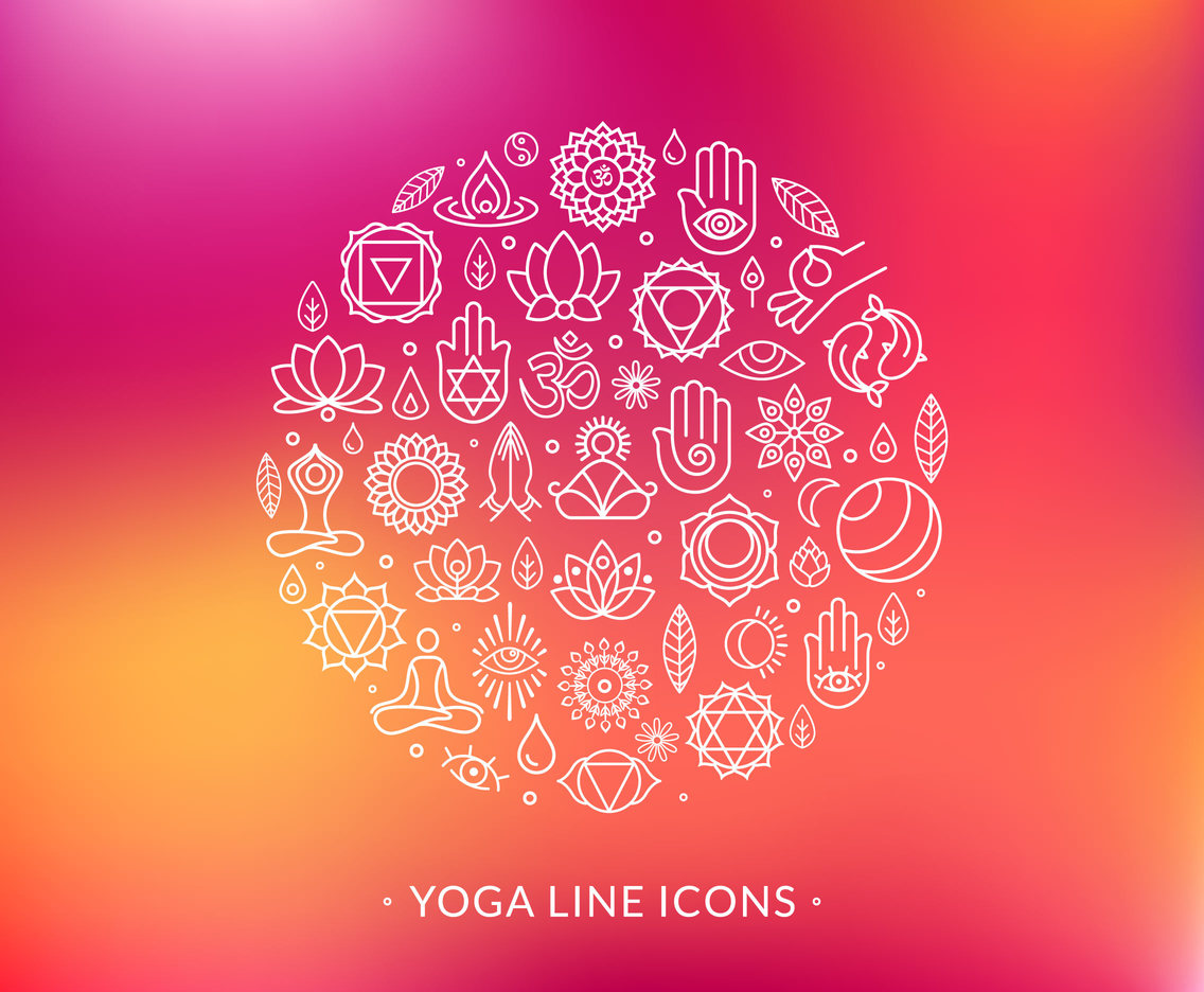 Line Yoga Vector Icons