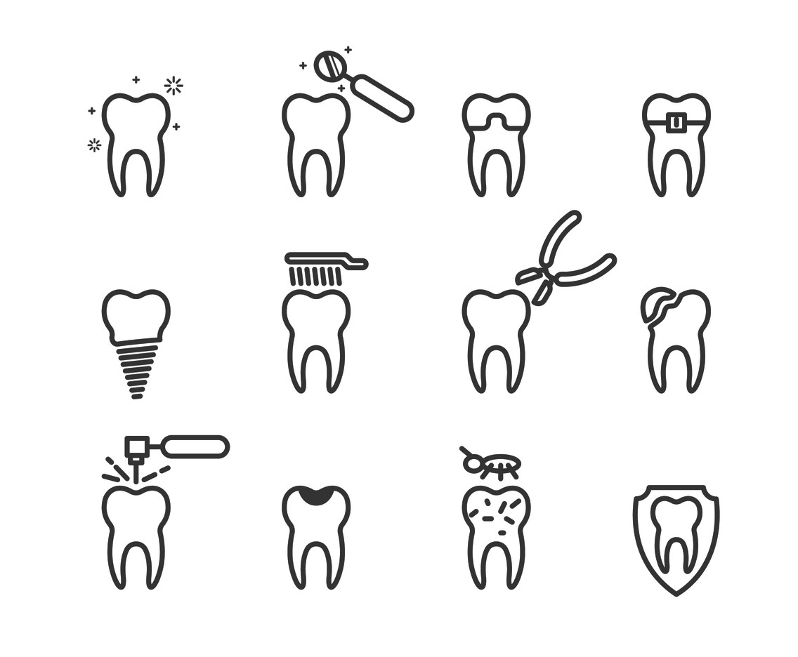 Vector Set Of Dental Outline Icon
