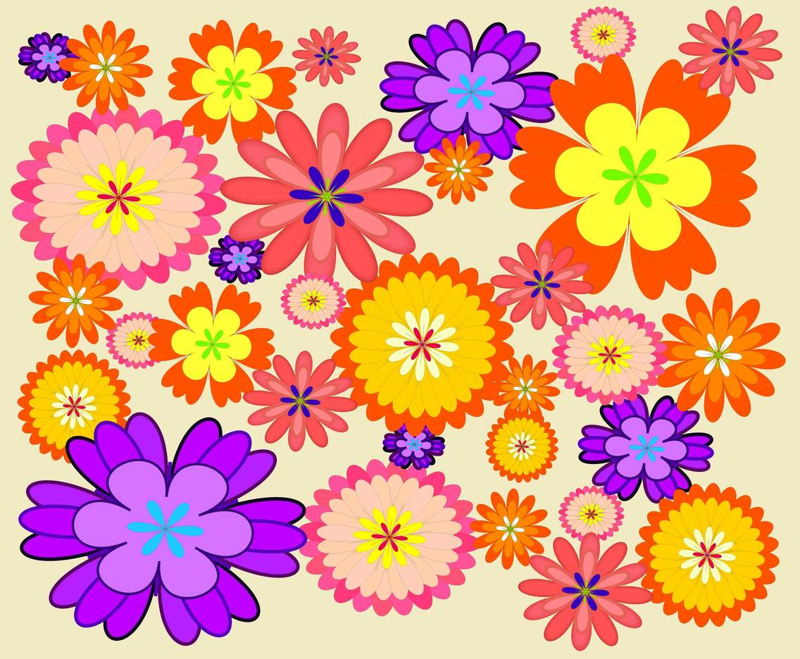 Cheerful Flower Background Vector