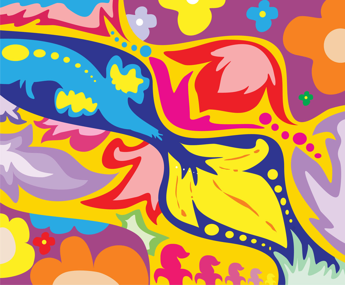 Vibrant Colors Hippie Background Vector