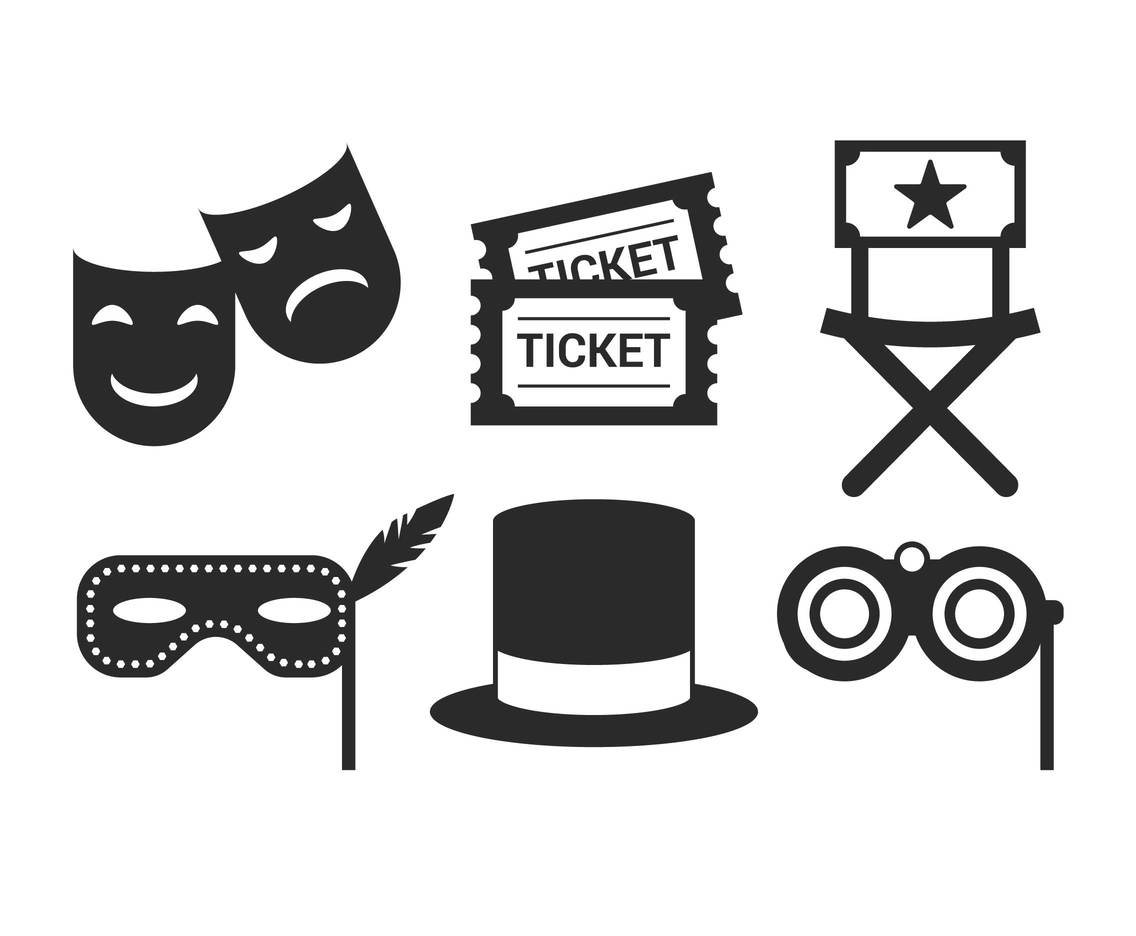 Theater simple icon set