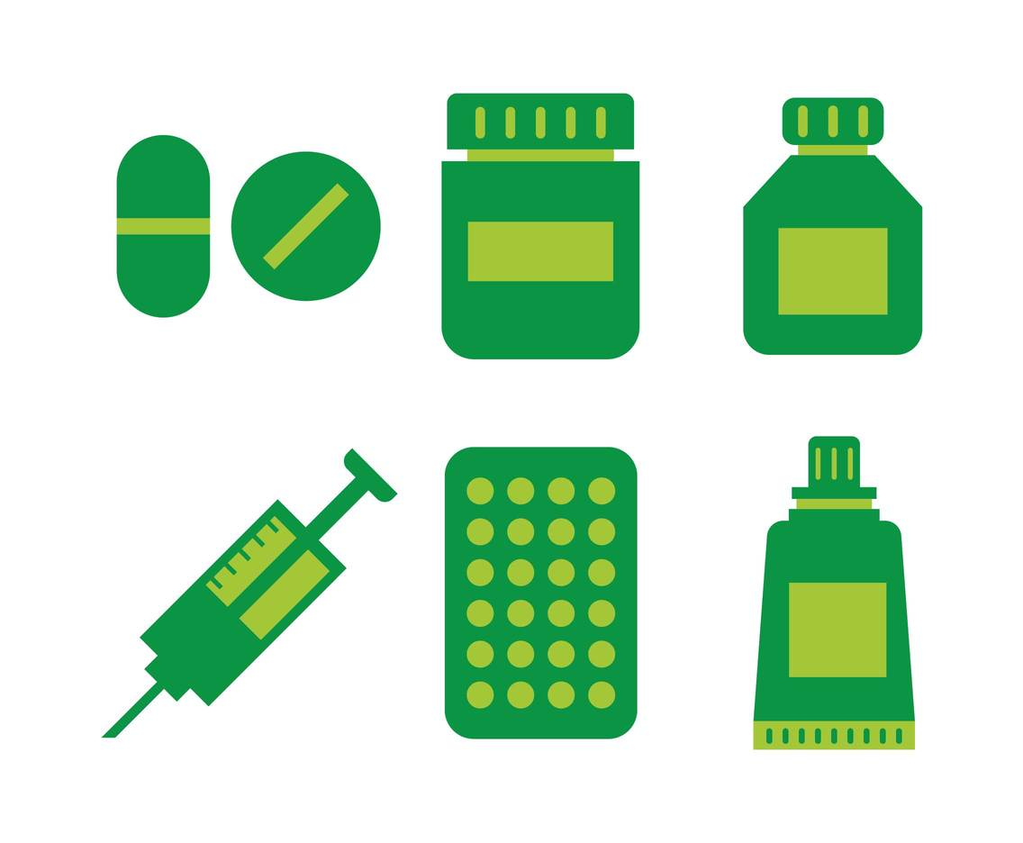 Green Pharmacy Icon Vector Set