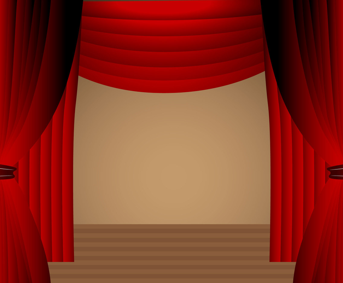 Red Curtain Theater Stage Scene Vector