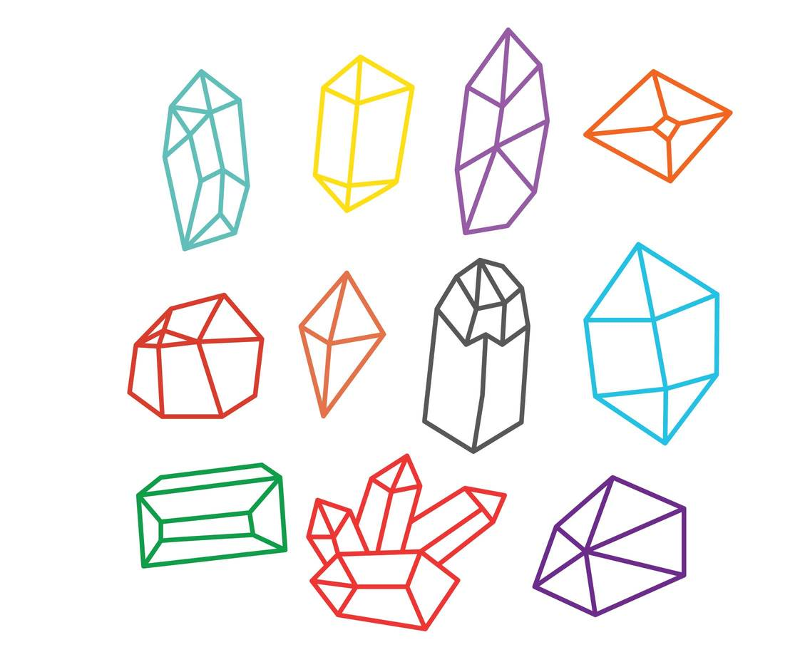 Gem outline icon set