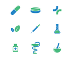 Blue And Green Pharmacy Icon