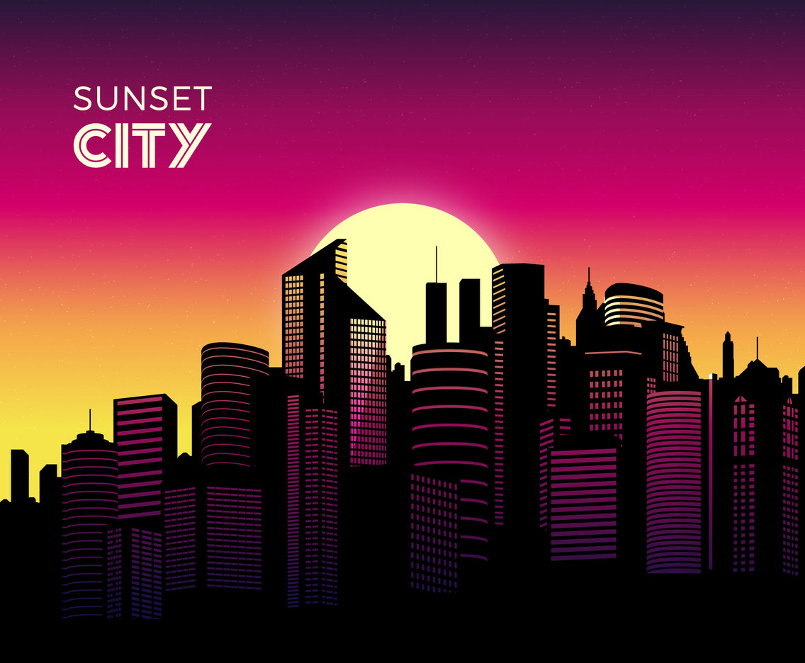 City Skyline At Sunset Vector Background