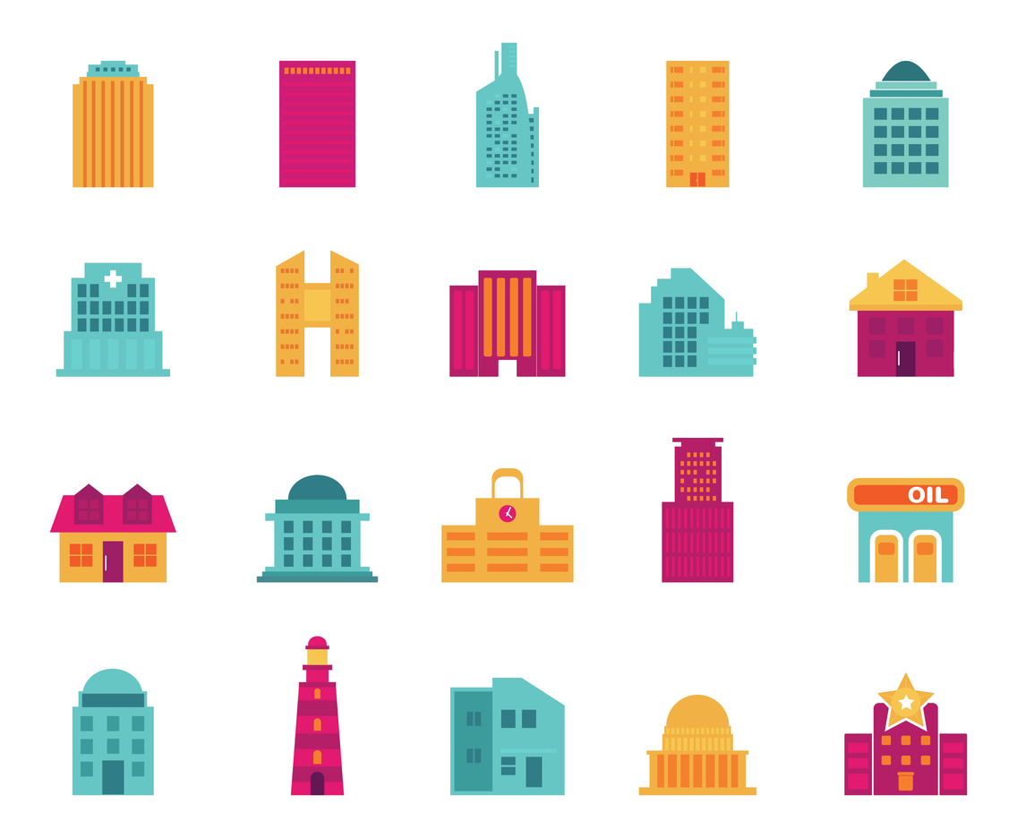 Flat Building Vector Icons