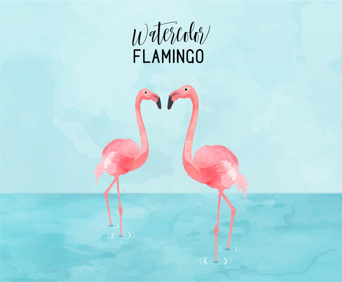 Watercolor Flamingo Couple Vector Illustration