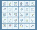 Flat Line SEO Vector Icon Set