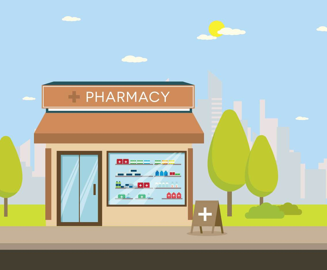 Pharmacy Store With City Silhouette Illustration