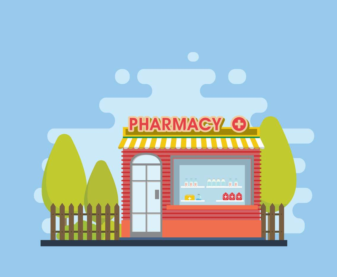 Drug Store Blue Background Illustration