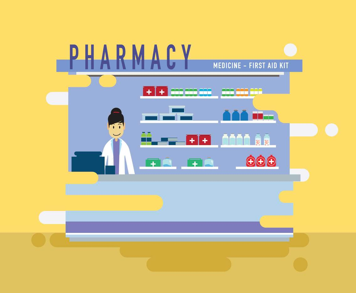 Woman Pharmacist with Shelves and Medicines Vector