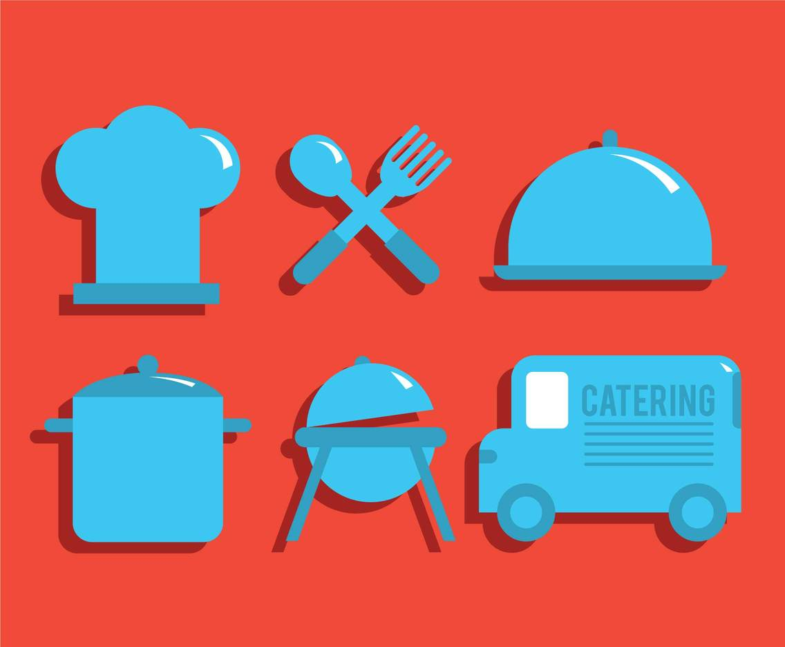 Catering vector icon set
