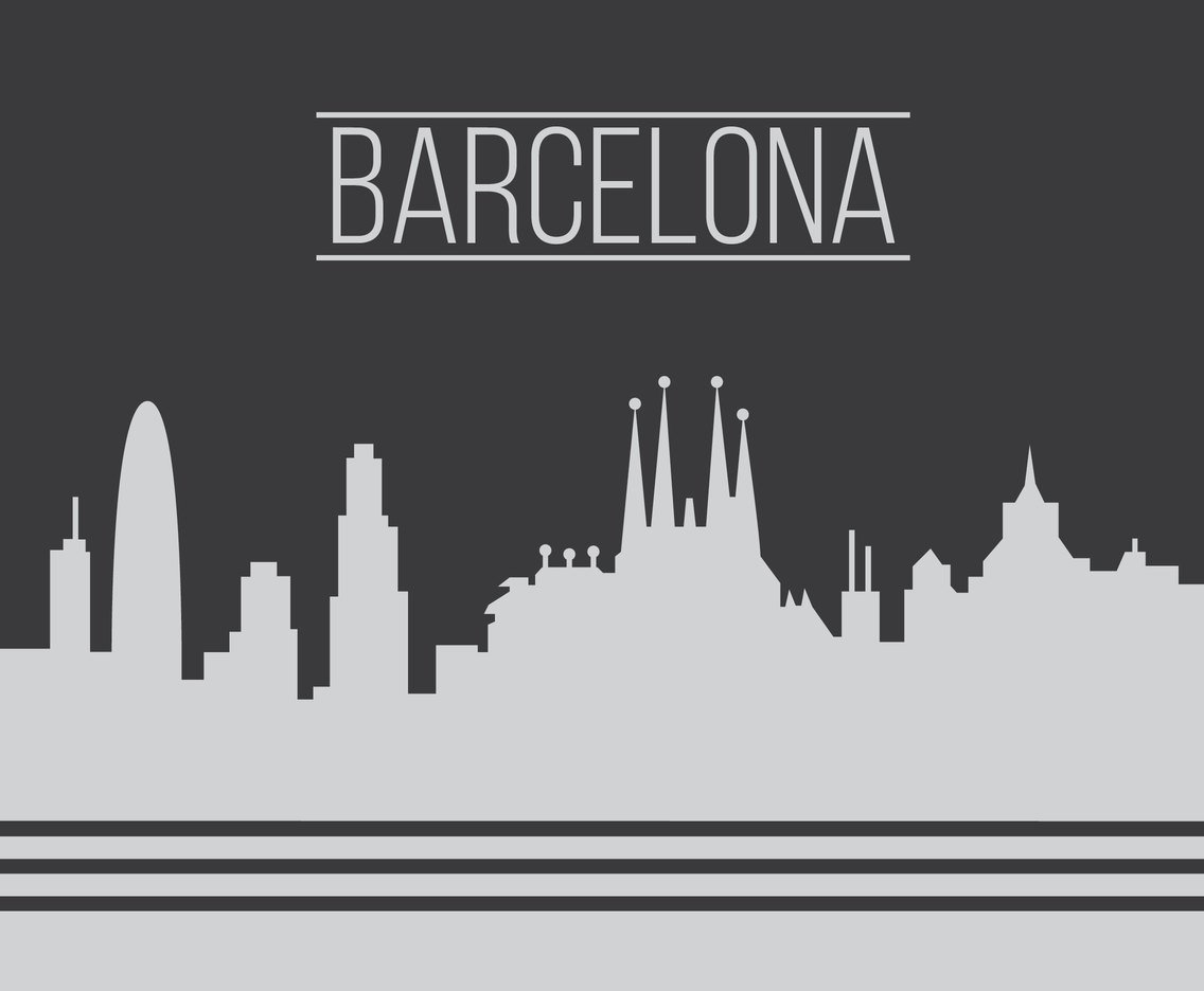 Barcelona City Grey Skyline Vector