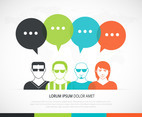 Man Avatar Icons With Dialog Speech Bubbles