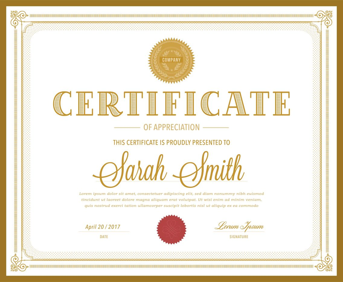 Retro Gold Certificate Vector Template